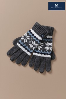 Crew Clothing Company Grey Fairisle Gloves