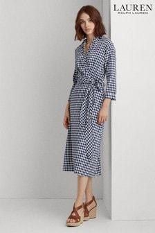 Lauren Ralph Lauren® Navy Check Nima Midi Dress