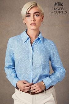 قميص كتان تفصيلة مريحة مشجر أزرق من Hawes & Curtis