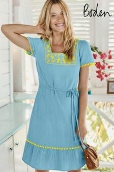 Boden Blue Bernadette Embroidered Dress