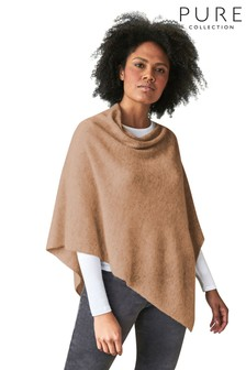 Pure Collection Camel Organic Cashmere Gassato Poncho