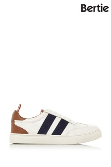 Bertie Ernestt White Leather Striped Detail Cupsole Trainers