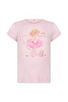 Monnalisa Baby Girls Pink Cotton T-Shirt