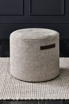Chunky Weave Mid Natural Pouffe With Handles