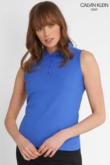 Calvin Klein Golf Blue Sleeveless Performance Cotton Blend Poloshirt