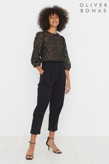 Oliver Bonas Black Cotton Black Tapered Leg Trousers