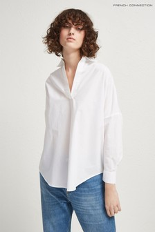 French Connection White Rhodes Poplin Popover Shirt