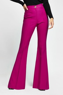 River Island Pink Dark Flare Fitted Trousers