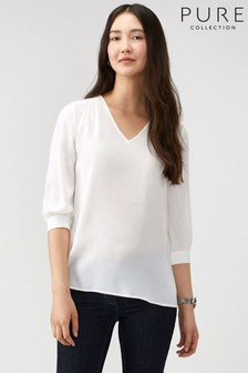 Pure Collection White V-Neck Top