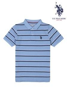 U.S. Polo Assn. Blue Twin Stripe Polo Shirt