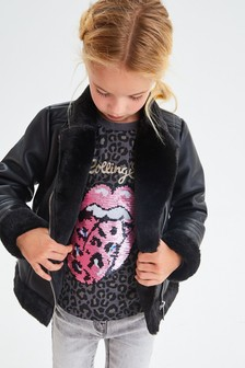 PU Faux Fur Lined Biker Jacket (3-16yrs)