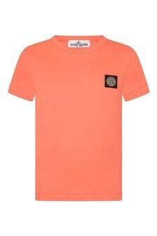 Boys Orange Cotton T-Shirt