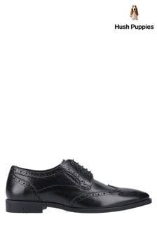 Hush Puppies Black Brace Brogue Shoes
