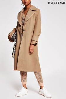 River Island Brown Light Cuff Detail Coat