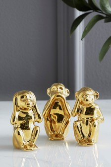Set of 3 Ceramic Wise Monkey Ornaments