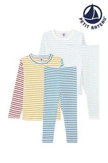Petit Bateau White and Multicoloured Stripe Pyjamas 2 Pack