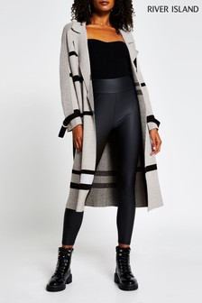 River Island Grey Geo Visual Duster Coat