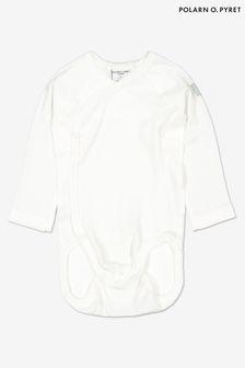 Polarn O. Pyret White GOTS Organic Wraparound Bodysuit