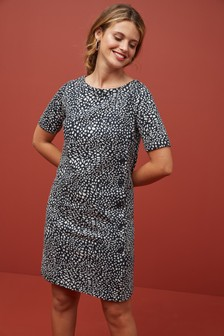 Animal Print Jacquard Dress