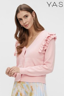 Y.A.S Pink Ruffle Shoulder Janet Cardigan