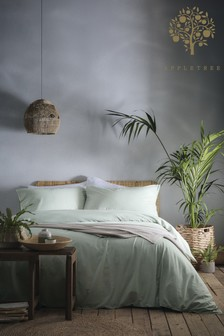 Appletree Green Cassia Washed Cotton Duvet Cover and Pillowcase Set