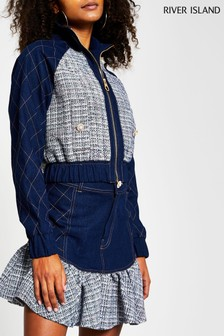 River Island Denim Boucle Mix Bomber Jacket