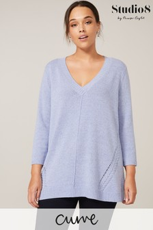 Studio 8 Pale Blue Nixie Cable Knit Jumper