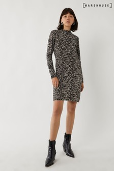 Warehouse Grey Animal Print Funnel Dress