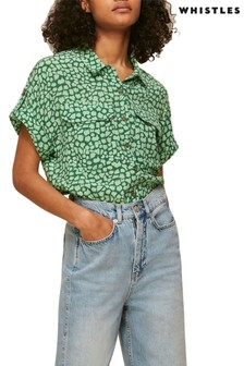 Whistles Green Giraffe Print Shirt