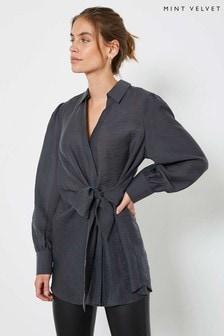 Mint Velvet Grey Puff Sleeve Knotted Shirt