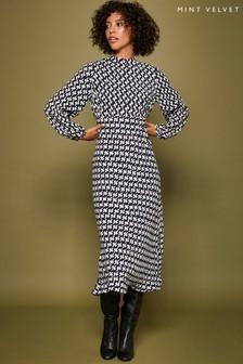 Mint Velvet Blue Fia Print Bias Cut Midi Dress