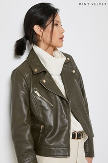 Mint Velvet Khaki Leather Biker Jacket