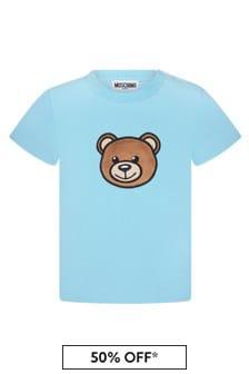 Moschino Kids Baby Boys Blue Cotton T-Shirt