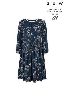 Monsoon Navy S.E.W Horse Jersey Dress
