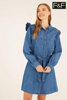 F&F Blue Denim Button Through Dress