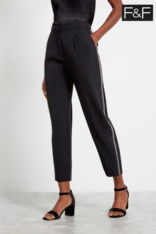 F&F Black Diamanté Side Trousers