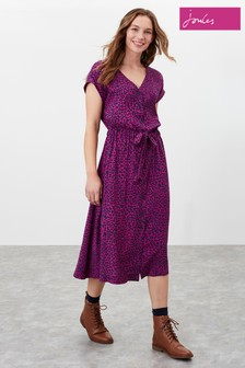 Joules Pink Yasmine V-Neck Dress