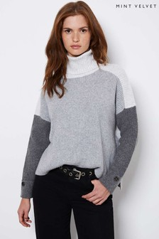 Mint Velvet Grey Blocked Chunky Jumper