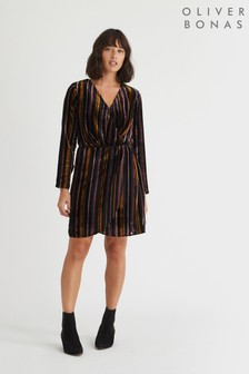 שמלה קצרה עם פסים של Oliver Bonas דגם Velvet בשחור