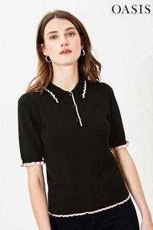 Oasis Black Pointelle Poloshirt
