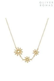 Oliver Bonas Gold Plated Isabeau Three Flower Necklace