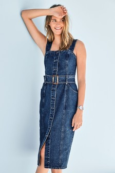 Fitted Belted Denim Dress