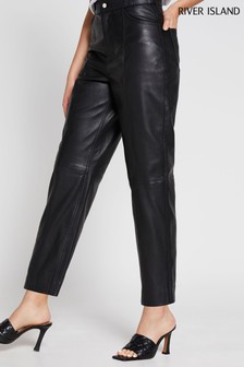 River Island Black Leather Straight Trousers
