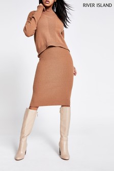River Island Camel Mary Jane 2-In-1 Jumper Dress