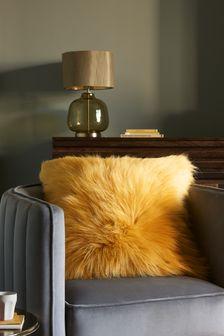 Ochre Yellow Arctic Cosy Faux Fur Square Cushion