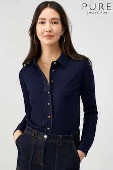 Pure Collection Blue Ponte Shirt