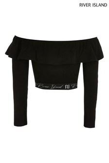 River Island Black Bardot Crop T-Shirt