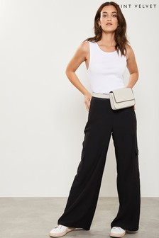 Mint Velvet Black Wide Utility Trouser