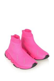 Kids Pink & Black Logo Speed Trainers