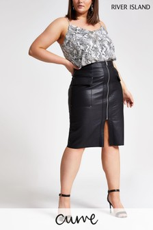 River Island Plus PU Zip Through Pencil Skirt